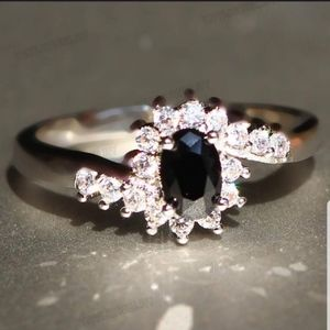 Sterling Silver Black Sapphire Ring